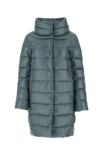 Petrol blue nylon down jacket