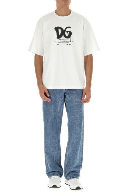 White stretch cotton blend t-shirt