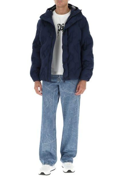 Blue stretch nylon down jacket