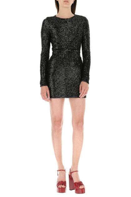 Black stretch nylon mini dress