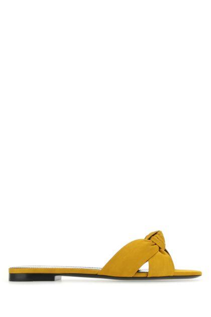 Mustard fabric Bianca slippers