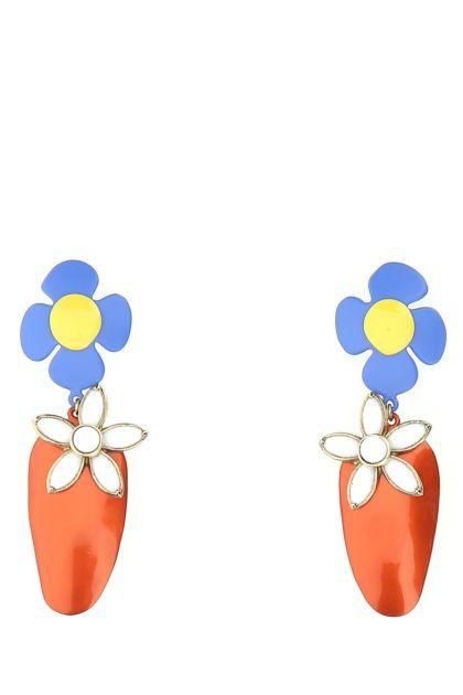 Multicolor metal and resin Fleur Et Fraise earrings
