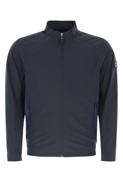 Navy blue stretch tech fabric jacket