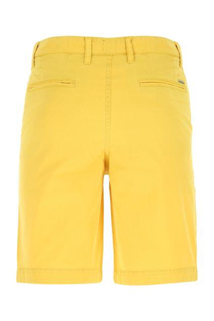 Yellow stretch cotton bermuda shorts