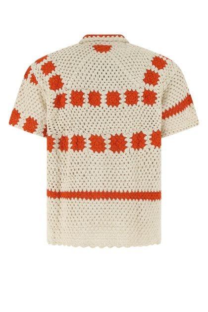 Two-tone cotton Sunspot Crochet shirt