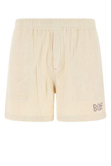 Ivory cotton Basketweave Rugby bermuda shorts
