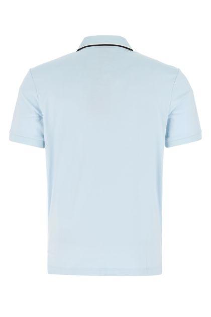 Pastel light blue cotton polo shirt