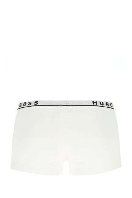 White stretch cotton boxer set
