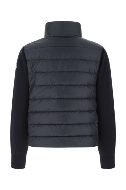 Dark blue nylon and wool cardigan