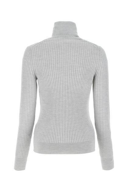 Melange light grey wool sweater