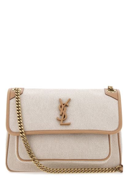 Two-tone canvas and leather medium Niki shoulder bag