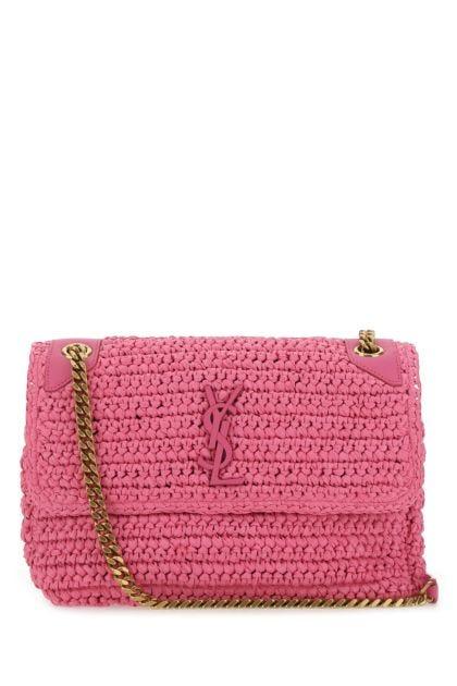 Dark pink raffia medium Niki shoulder bag