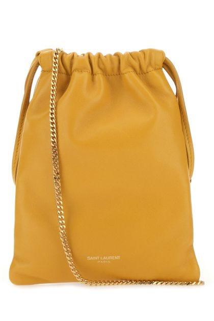 Ochre nappa leather Paris crossbody bag