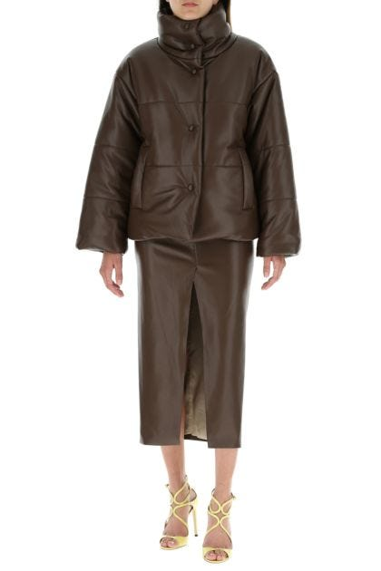 Chocolate synthetic leather Hide padded jacket