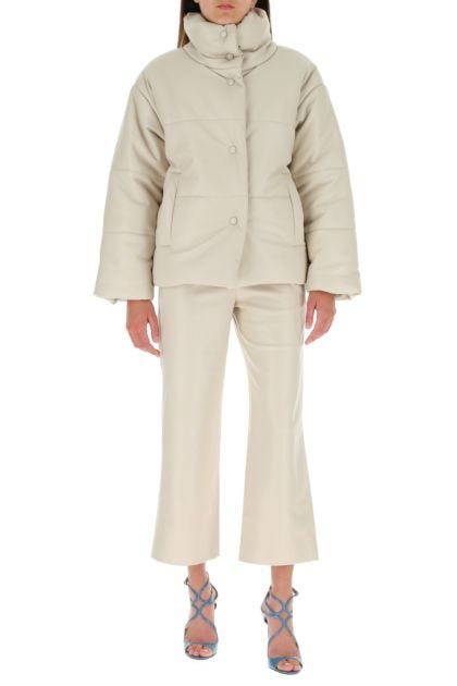 Sand synthetic leather Odessa pant
