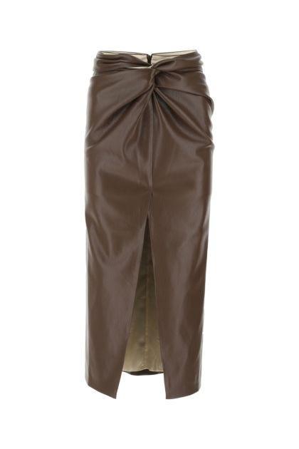 Chocolate synthetic leather Inci skirt