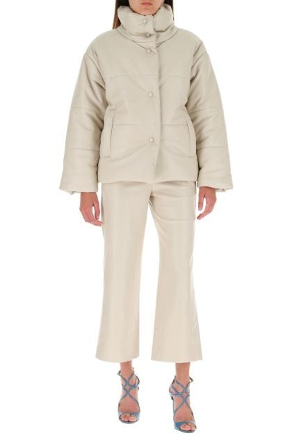 Sand synthetic leather Hide padded jacket
