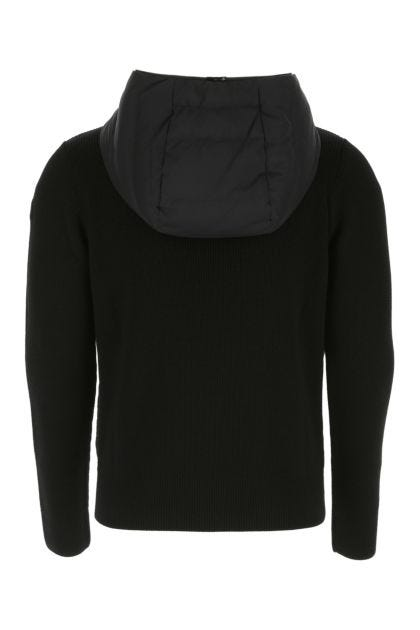 Black nylon and wool cardigan