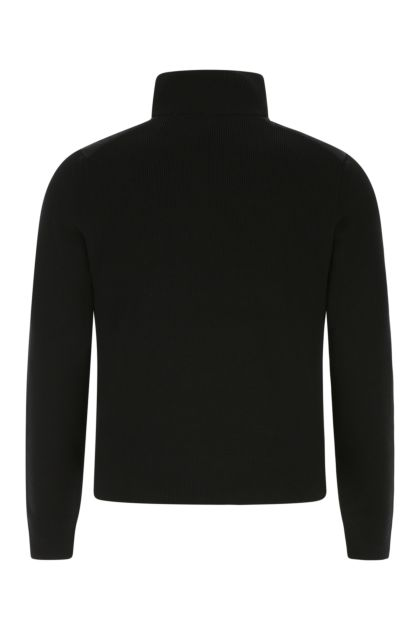 Black wool blend cardigan