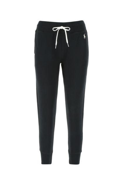 Black cotton blend joggers