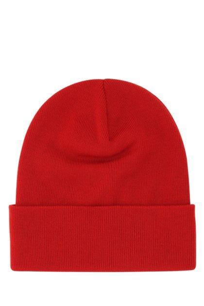 Tiziano red virgin wool beanie hat