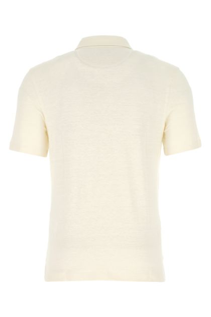 Ivory stretch linen polo shirt