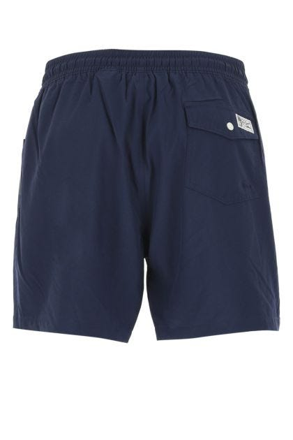 Blue stretch polyester swimming shorts