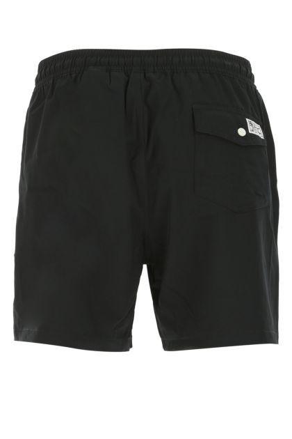 Black stretch polyester swimming shorts