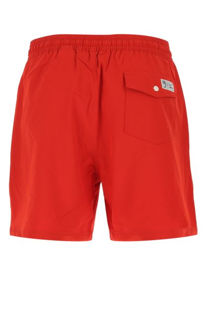 Red stretch polyester swimming shorts