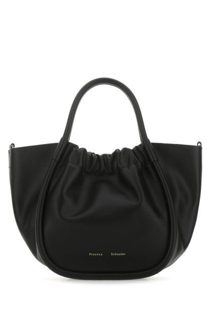 Black leather small Ruched handbag