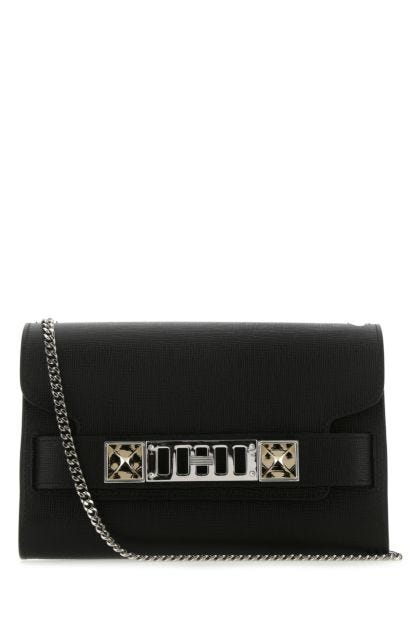 Black leather PS11 clutch