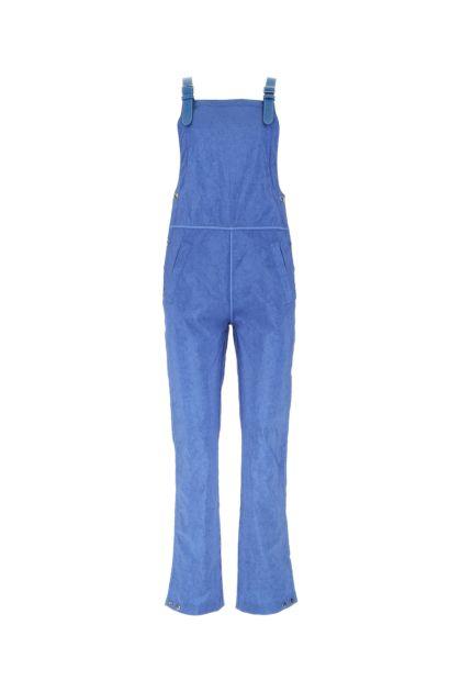Cerulean nylon overalls