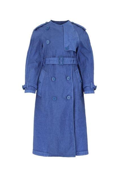 Cerulean nylon trench coat