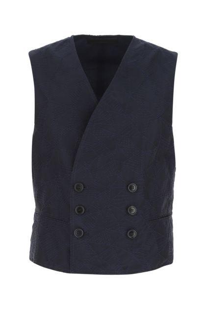 Dark blue cotton blend gilet