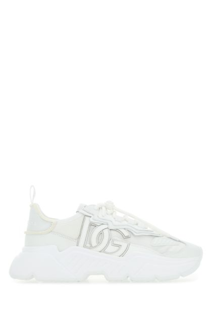 White nylon and leather Daymaster sneakers