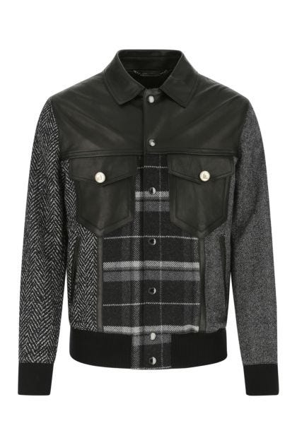 Multicolor nappa leather and wool blend shirt