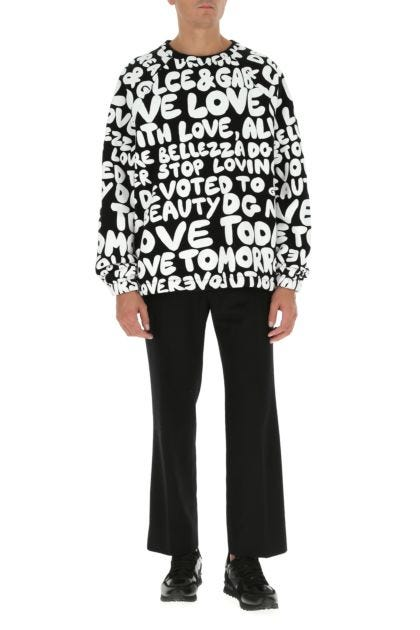Printed cotton blend oversize sweatshirt