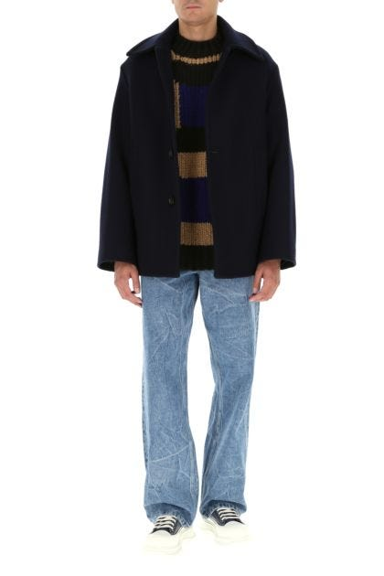 Dark blue wool blend coat
