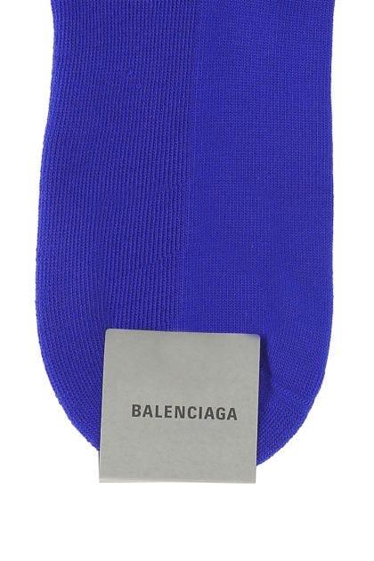Electric blue stretch polyester blend socks