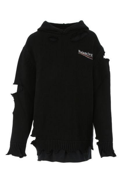 Black cotton oversize sweater