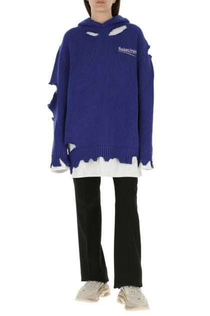 Blue cotton oversize sweater