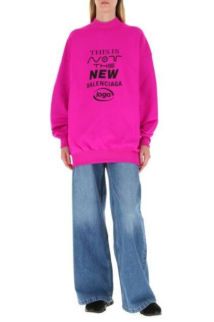 Fuchsia stretch cotton blend oversize sweatshirt