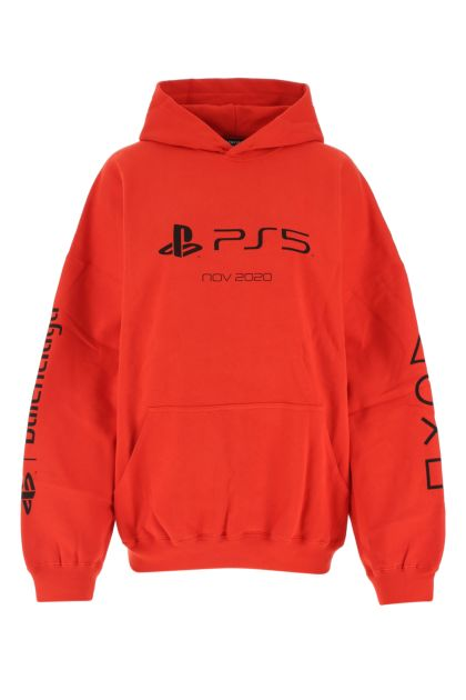 Red cotton oversize sweatshirt