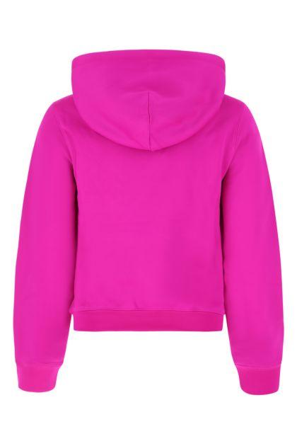 Fuchsia stretch nylon blend sweatshirt