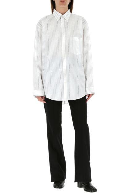 Embroidered poplin oversize shirt