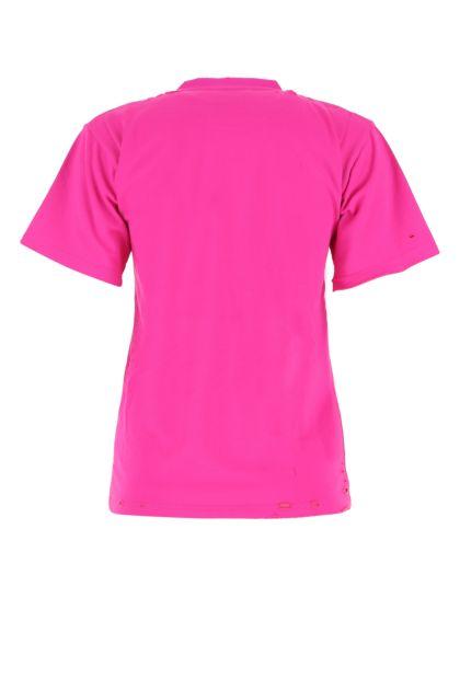 Fuchsia cotton blend t-shirt