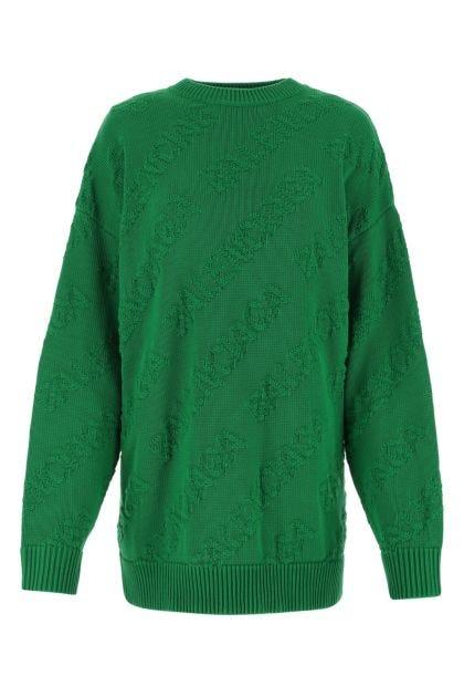 Green cotton oversize sweater