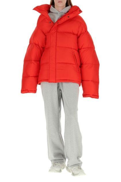Red nylon padded jacket