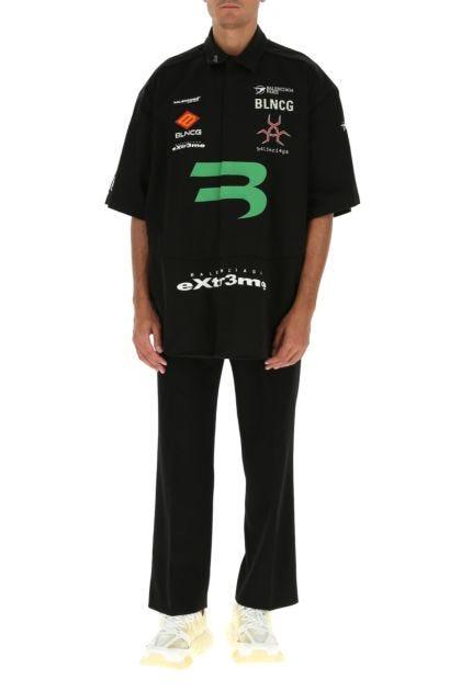 Slate stretch cotton oversize shirt