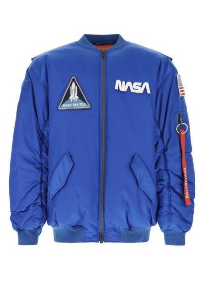 Electric blue nylon oversize padded jacket